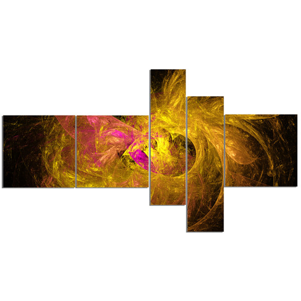 Designart Golden Fractal Abstract Illustration Multipanel Abstract Canvas Art Print - 5 Panels