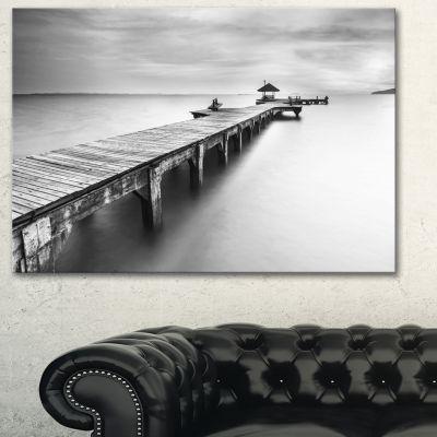 Designart Wooden Sea Bridge Seascape Photography Canvas Art Print - 3 Panels