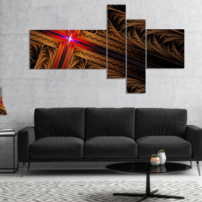 Designart Golden Fractal Cross Design Multipanel Abstract Canvas Art Print - 4 Panels