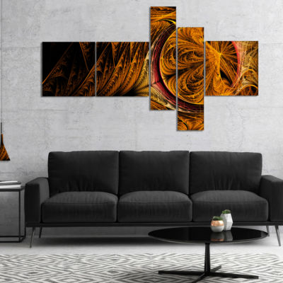 Designart Golden Fractal Desktop Multipanel LargeAbstract Art - 5 Panels