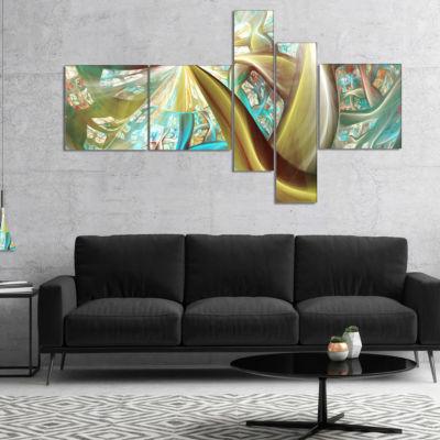 Designart Golden Fractal Exotic Plant Stems Multipanel Abstract Canvas Art Print - 4 Panels