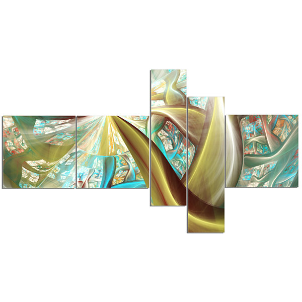 Designart Golden Fractal Exotic Plant Stems Multipanel Abstract Canvas Art Print - 5 Panels