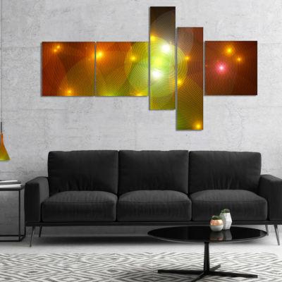 Designart Golden Fractal Lights In Fog MultipanelAbstract Wall Art Canvas - 5 Panels