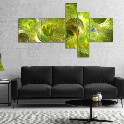 Designart Golden Fractal Ornamental Glass Multipanel Abstract Canvas Art Print - 4 Panels