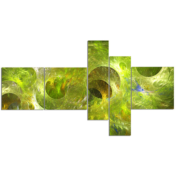 Designart Golden Fractal Ornamental Glass Multipanel Abstract Canvas Art Print - 5 Panels