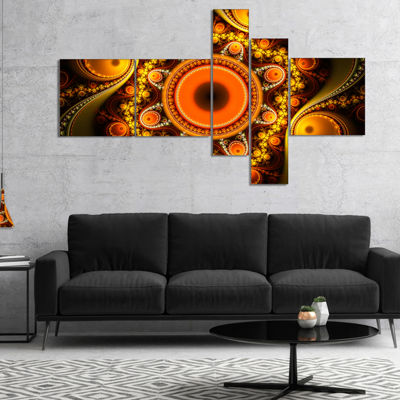 Designart Golden Fractal Pattern With Circles Multipanel Abstract Canvas Art Print - 4 Panels