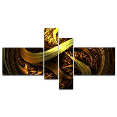 Designart Golden Fractal Sphere In Dark MultipanelAbstract Canvas Art Print - 4 Panels
