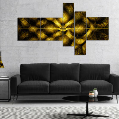 Designart Golden Fractal Watercolor Pattern Multipanel Abstract Art On Canvas - 5 Panels