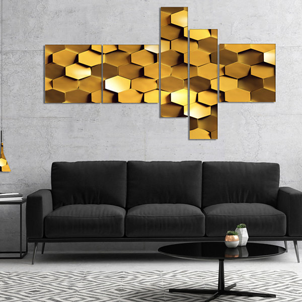Designart Golden Honeycomb Wall Texture MultipanelAbstract Canvas Art Print - 4 Panels