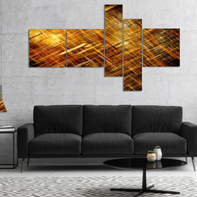 Designart Golden Mosaic Texture Multipanel Abstract Canvas Art Print - 4 Panels