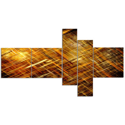Designart Golden Mosaic Texture Multipanel Abstract Canvas Art Print - 5 Panels