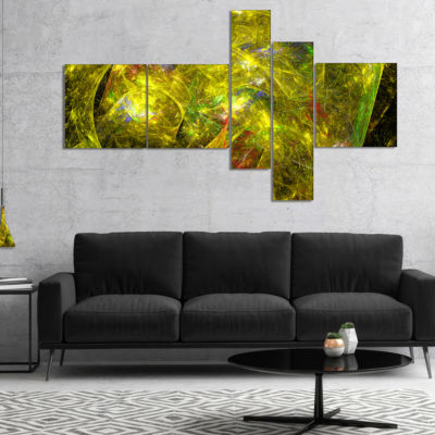 Designart Golden Mystic Psychedelic Texture Multipanel Abstract Art On Canvas - 4 Panels