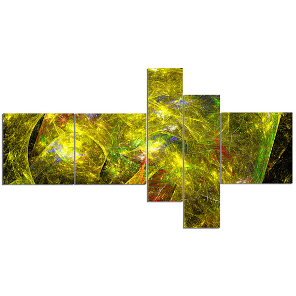 Designart Golden Mystic Psychedelic Texture Multipanel Abstract Art On Canvas - 5 Panels