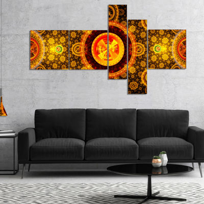 Designart Golden Psychedelic Relaxing Art Multipanel Abstract Canvas Art Print - 5 Panels
