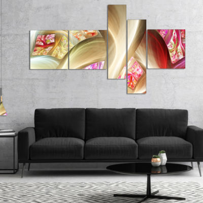 Designart Golden Red Fractal Plant Stems Multipanel Abstract Canvas Art Print - 4 Panels
