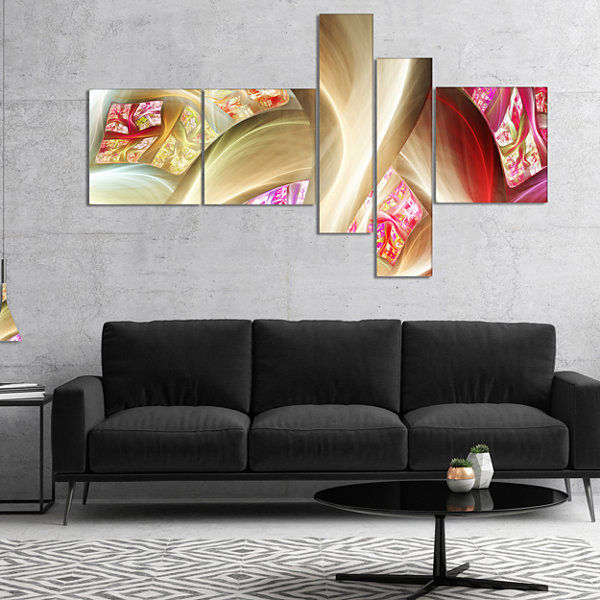 Designart Golden Red Fractal Plant Stems Multipanel Abstract Canvas Art Print - 5 Panels
