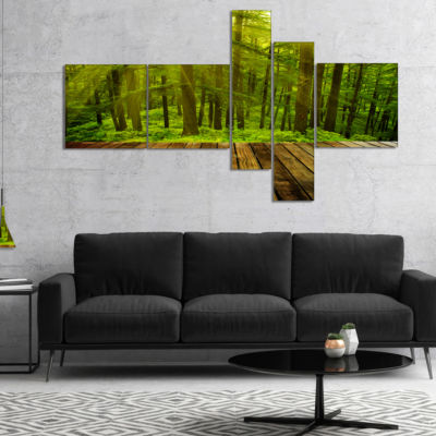 Designart Golden Sunlight In Pine Forest Multipanel Landscape Photography Canvas Print - 4 Panels