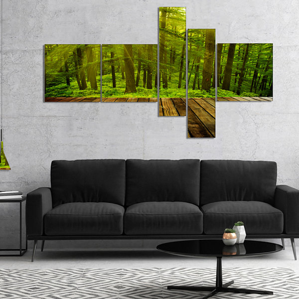 Designart Golden Sunlight In Pine Forest Multipanel Landscape Photography Canvas Print - 5 Panels