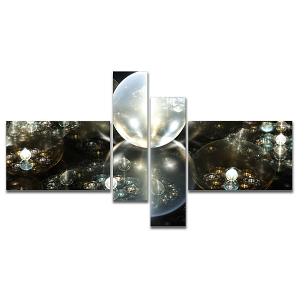 Designart Golden Water Drops On Mirror MultipanelAbstract Canvas Art Print - 4 Panels