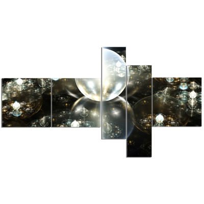 Designart Golden Water Drops On Mirror MultipanelAbstract Canvas Art Print - 5 Panels