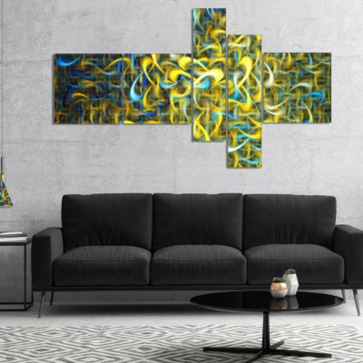 Designart Golden Watercolor Fractal Pattern Multipanel Abstract Art On Canvas - 5 Panels
