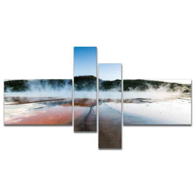 Designart Grand Prismatic Spring At Sunset Multipanel Seashore Canvas Art Print - 4 Panels