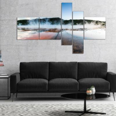 Designart Grand Prismatic Spring At Sunset Multipanel Seashore Canvas Art Print - 5 Panels