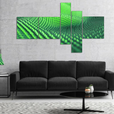 Designart Green 3D Spiny Texture Multipanel Abstract Canvas Art Print - 5 Panels