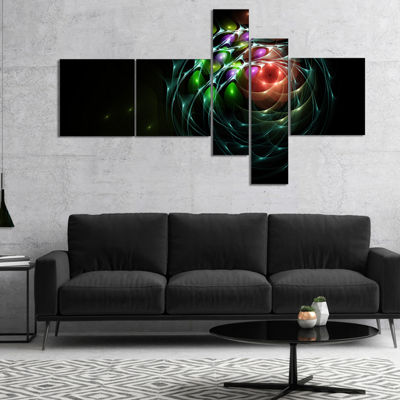 Designart Green 3D Surreal Fractal Design Multipanel Abstract Art On Canvas - 5 Panels