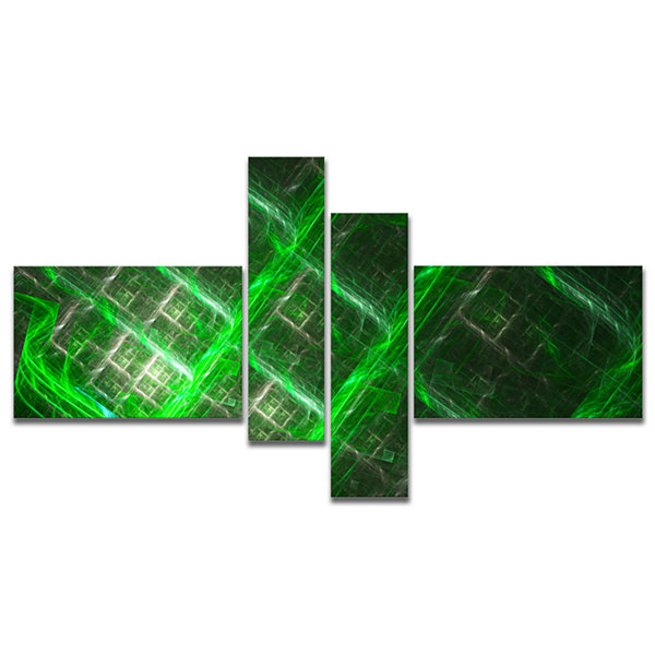 Designart Green Abstract Metal Grill Multipanel Abstract Art On Canvas - 4 Panels