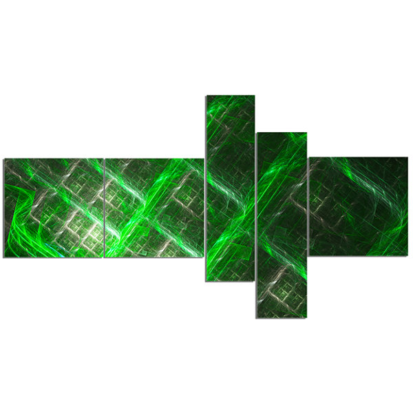 Designart Green Abstract Metal Grill Multipanel Abstract Art On Canvas - 5 Panels