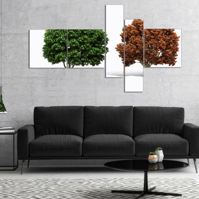 Designart Green And Red 3D Fractal Trees Multipanel Abstract Wall Art Canvas - 5 Panels