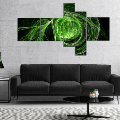 Designart Green Ball Of Yarn Multipanel Abstract CanvaS Art Print - 4 Panels