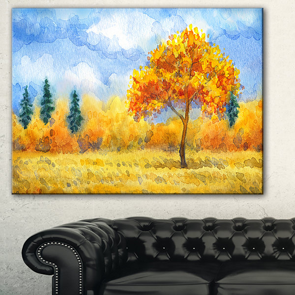 Designart Yellow Trees Watercolor Painting Landscape Canvas Print ...