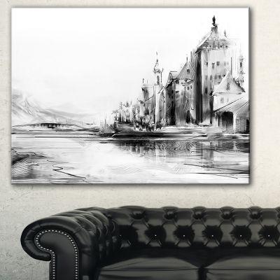 Designart Zurich In Afternoon Sunlight CityscapeCanvas Art Print - 3 Panels