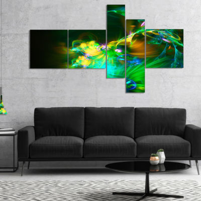 Designart Bright Green Fractal Flower In Dark Multipanel Floral Canvas Art Print - 5 Panels