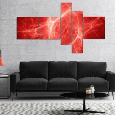 Designart Bright Lightning On Red Sky MultiplanelFloral Canvas Art Print - 5 Panels