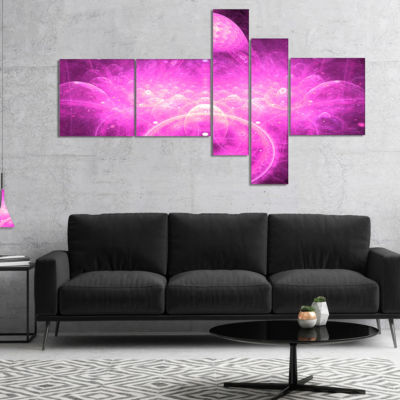 Designart Bright Purple Infinite World MultiplanelFloral Canvas Art Print - 4 Panels