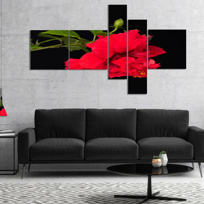 Designart Bright Red Hibiscus On Black MultiplanelFloral Canvas Art Print - 5 Panels