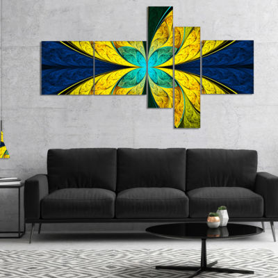 Designart Bright Yellow Blue Fractal Flower Multipanel Floral Canvas Art Print - 4 Panels