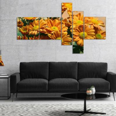 Designart Bright Yellow Flowers In Garden Multipanel Floral Canvas Art Print - 4 Panels