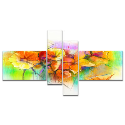 Designart Bright Yellow Gerbera And Daisies Multipanel Large Floral Canvas Art Print - 4 Panels