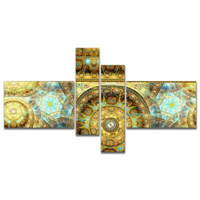 Designart Brown Extraterrestrial Life Cells Multipanel Floral Canvas Art Print - 4 Panels