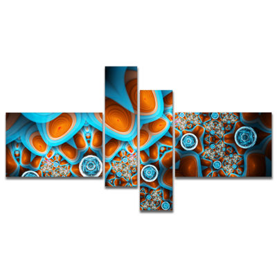 Designart Brown Extraterrestrial Life Forms Multipanel Floral Canvas Art Print - 4 Panels