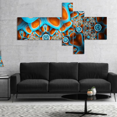 Designart Brown Extraterrestrial Life Forms Multipanel Floral Canvas Art Print - 5 Panels