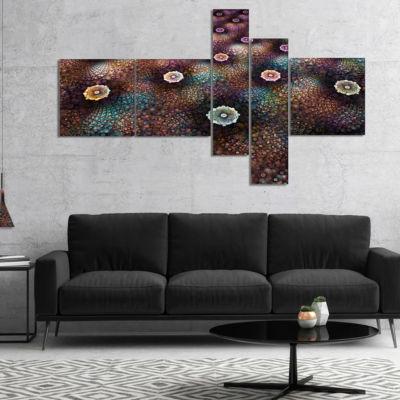 Designart Brown Flowers On Alien Planet Multiplanel Floral Canvas Art Print - 4 Panels