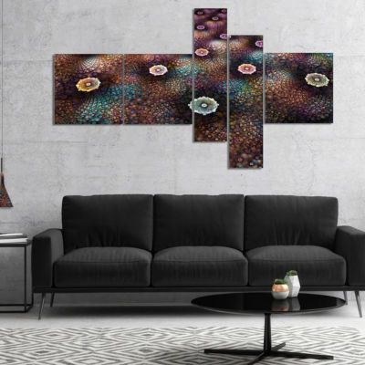 Designart Brown Flowers On Alien Planet Multiplanel Floral Canvas Art Print - 5 Panels