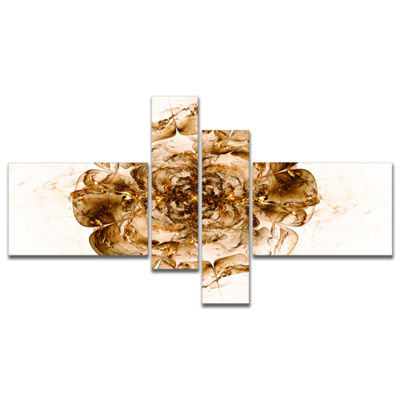 Designart Brown Fractal Flower In White Multiplanel Floral Art Canvas Print - 4 Panels