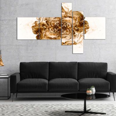 Designart Brown Fractal Flower In White Multiplanel Floral Art Canvas Print - 5 Panels