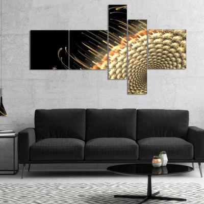 Designart Brown Fractal Flower Pattern MultiplanelFloral Art Canvas Print - 4 Panels